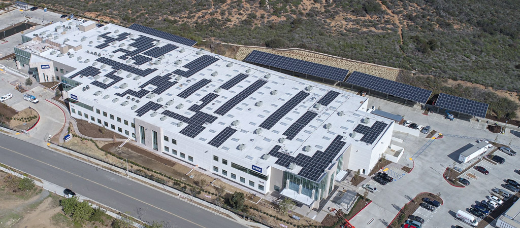 San Diego building with rooftop and carport solar panel arrays